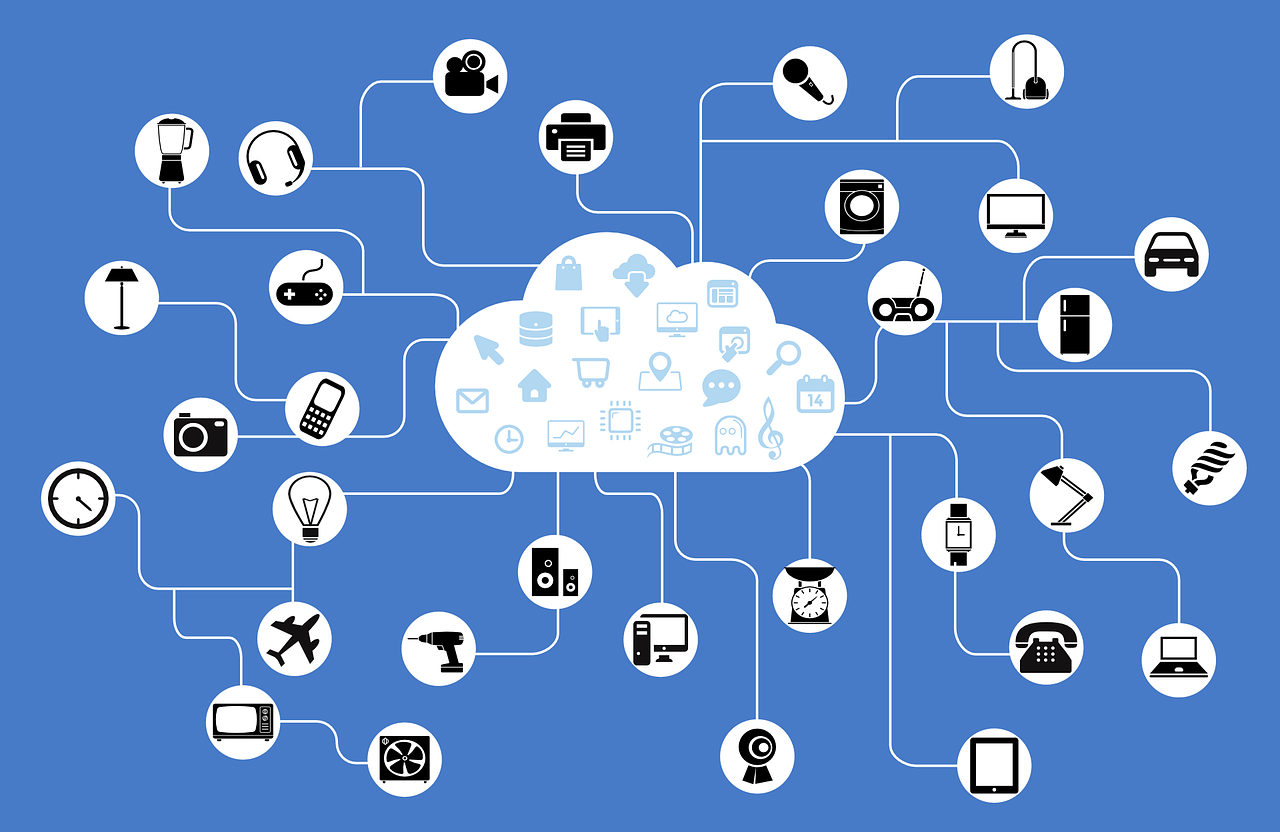 "An image representing ""The Internet of Things"" made up of icons of appliances connected to a cloud"