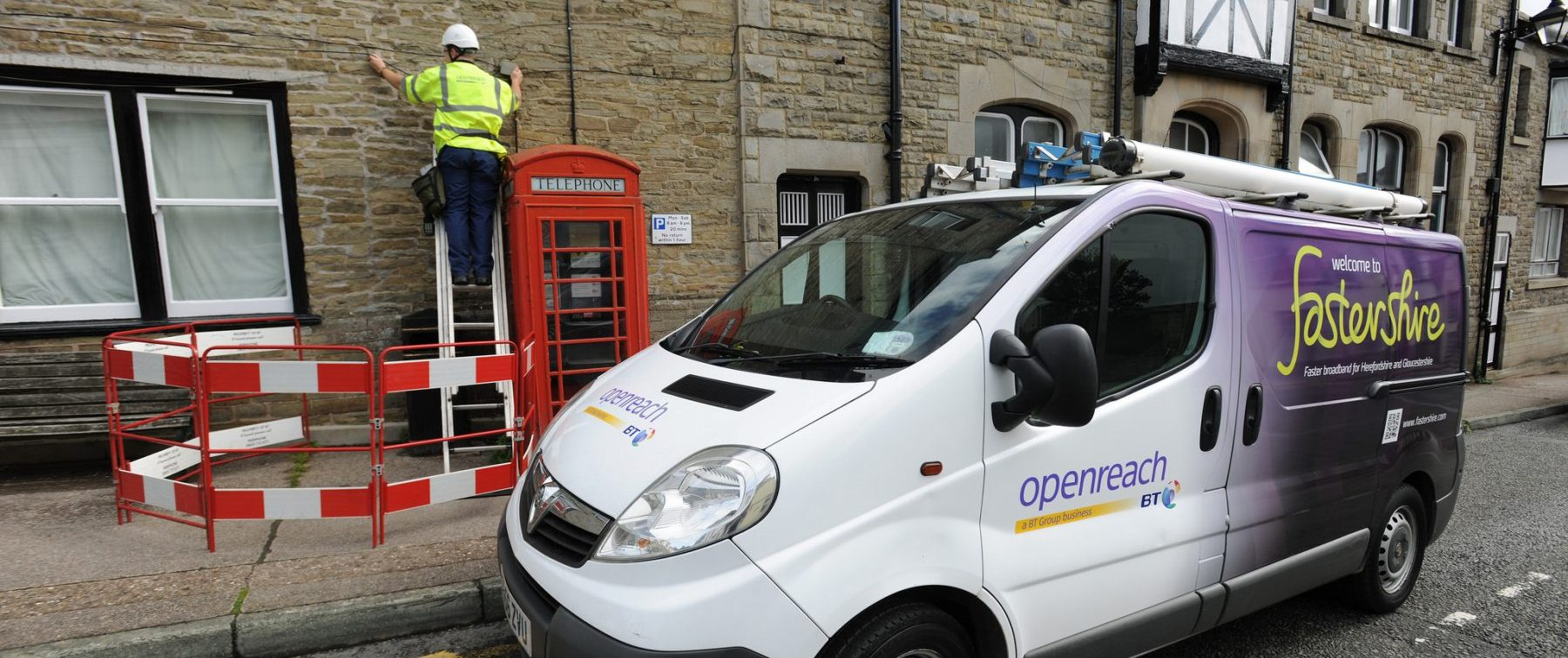 OpenReach Business Broadband Engineer with a Fastershire van