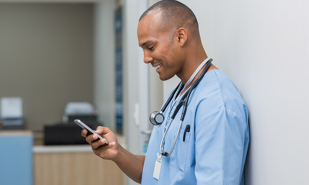 Doctor using mobile